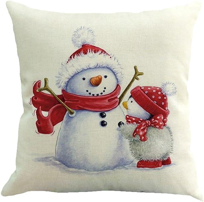 Federe Cuscini Natale.Federe Cuscini Feixiang Federa Cuscino Stampa Natale Pupazzo Di