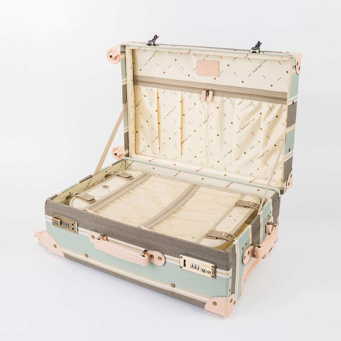 COTRUNKAGE Travel Luggage Trunk Vintage Women Suitcase with TSA Lock