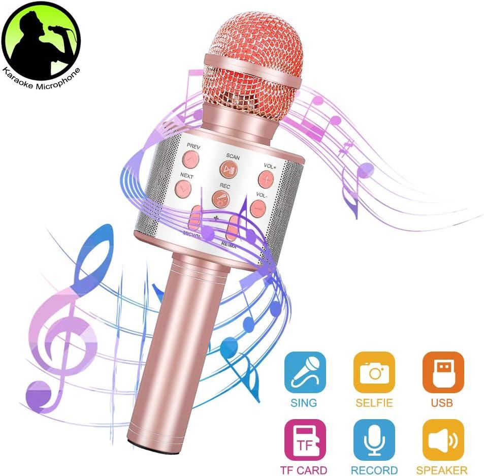 Micrófono Inalámbrico Karaoke,Micrófono karaoke Bluetooth Altavoz para Niños Canta Partido Musica Compatible con PC/iPad/iPhone/Smartphone(Oro rosa)