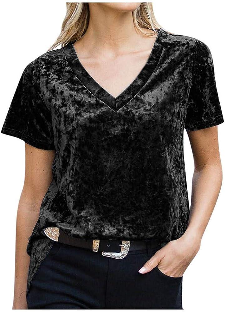 Camisetas Mujer Manga Corta Sudadera con Cuello En V de Terciopelo Dorado T-Shirt Suéter Sweatshirt Blusa Elegante Tops Tallas Grandes S-5XL LANSKIRT: Amazon.es: Ropa y accesorios