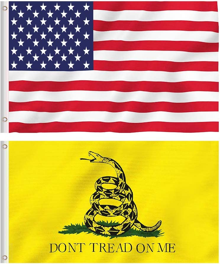 TDHDIKE American USA Flag and Gadsden Don't Tread On Me Flag, 2 Polyester Flags, 3 x 5FT, Bright Colors and UV Fading Resistance, Double Stitched and Flags with Brass Grommets