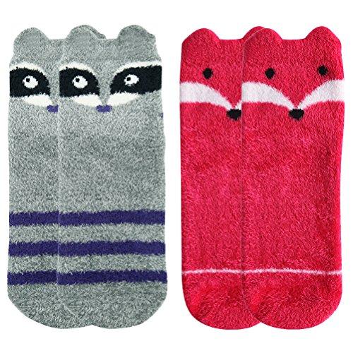 Warm Fuzzy Socks,Super Soft Silky Plush Cute Raccoon Fox Patterns Gift Socks for Women Anti-slip Novelty Fashion Slipper Socks Vive Bears 2 Pairs