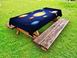 Ambesonne Space Outdoor Tablecloth, Solar System Illustration Showing Planets Around Sun Harmony of Galaxy Science Room Image, Decorative Washable Picnic Table Cloth, 58 X 120 inches, Multi