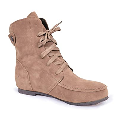 Wonshine Women Winter Boots Flat Martin Ankle Boots Faux Suede Lace Up Shoes  Beige 5.5 8818aeba9