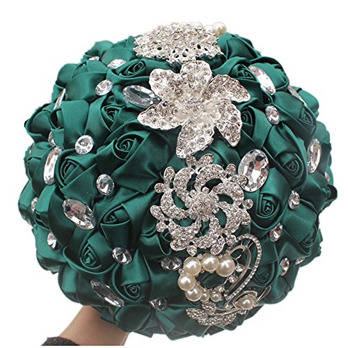 USIX Handcraft Crystal Satin Rose Brooch Bridal Holding Wedding Bouquet Brooch Bouquet, Lace Decorated Bouquet, Wedding Flower Arrangements Bridesmaid Bouquet(Green)