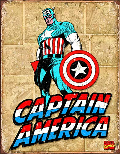 Captain America Poster (Desperate Enterprises Captain America Retro Panels Tin Sign, 12.5