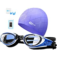 YYK 5 in1 Swimming Goggles,Silicone Swimming Caps Set Adult Youth Kids, Shatter-Proof, Watertight with Anti-fog UV Protection Lens, Plua Nose Clip Ear Plugs Phonge Waterproof Bag