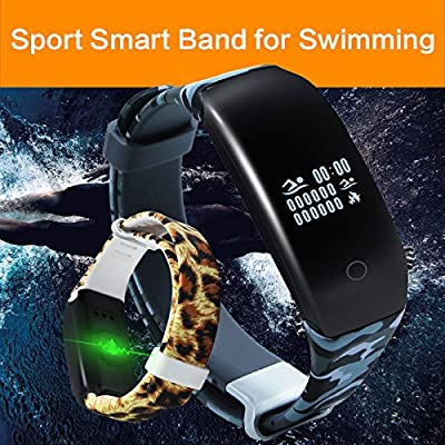 KASSICA Smart Wristband Outdoor Sports Healthy Fitness Tracker Waterproof Smart Bracelet Bluetooth Wrist Band with Heart Rate Monitor Pedometer for iPhone Samsung HTC Smart Phones