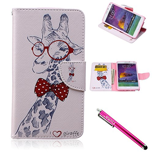 Galaxy Note 4 Case, Firefish [Kickstand] [Card Slots] Slim Flip PU Leather Wallet [Shock Absorption] Scratch-Resistant Protect for Samsung Galaxy Note 4 - Giraffe