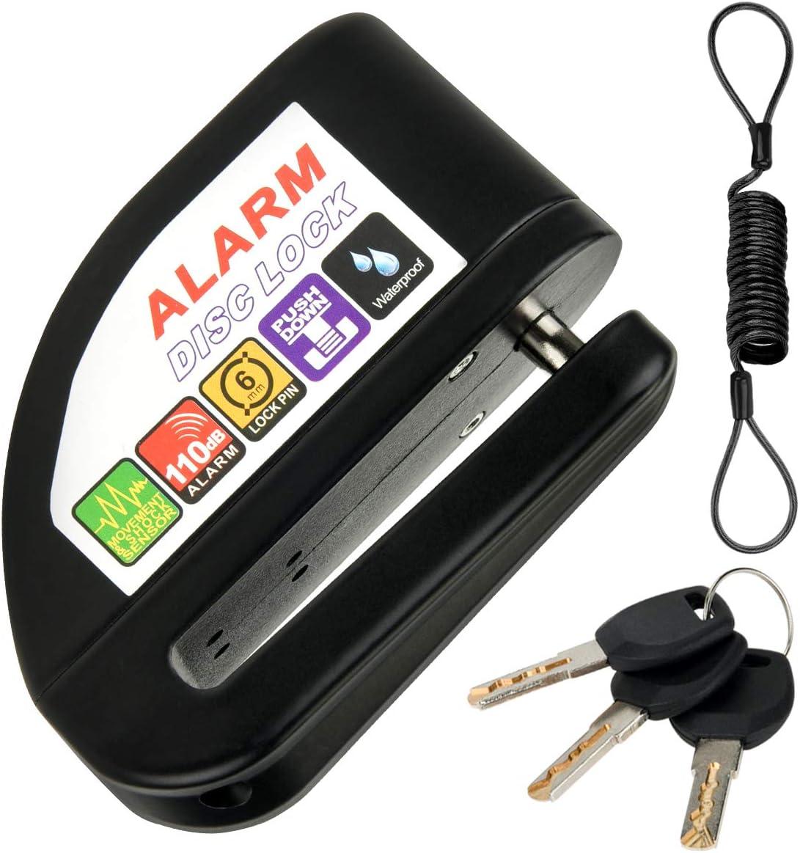 Candado de Disco De Alarma Negro Disco De Bloqueo para Moto Bicicleta Antirrobo 110dB 6mm Bloqueo De Seguridad con 1.2M Cable De Recordatorio para Scooter Motocicleta