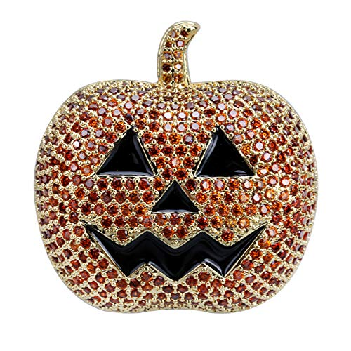 JINAO Full Iced Out Jack O'Lantern Halloween Simulated Lab Diamonds Pumpkin Pendant Necklace (Gold, 24)
