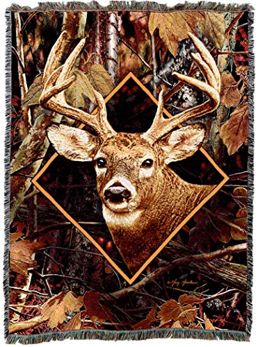 Pure Country Weavers | Deer in Camo Woven Tapestry Throw Blanket with Fringe Cotton USA Cotton 72x54