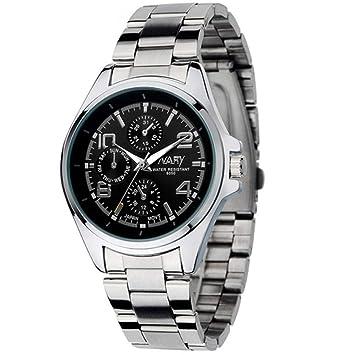 Filfeel Reloj De Hombre, Business Moderno Acero Banda Impermeable Cuarzo Reloj de Pulsera(Schwarzes Zifferblatt): Amazon.es: Hogar
