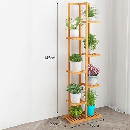 D&LE 7 Niveles Bambú Soporte de la Flor estantería Multi Madera Estantes Bonsai Puesto de Flores para El balcón Sala de Estar Patio Jardín Interior al Aire Libre-Registros 18x9x57(45x22x145cm): Amazon.es: Hogar