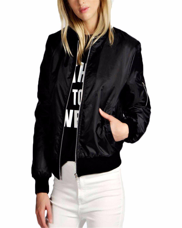 Celmia Vintage Long Sleeve Solid Zip Up Side Pockets Classic Padded Bomber Jacket Biker Coat Black XL
