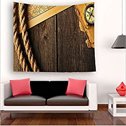 Nalahome-ollection Antique Brass Compass and Rope Over Old Map on Wooden Timber Table Illustration Brown Gold tapestry psychedelic wall art tapestry hanging 43.3W x 43.3L Inches 51W x 51L Inches