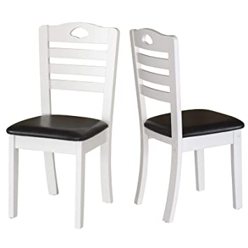 Prime Homcom Dining Chairs Set Of 2 Pu Leather Padded Seat Modern Style Solid Wood Kitchen Furniture White Frame Black Seat Pabps2019 Chair Design Images Pabps2019Com