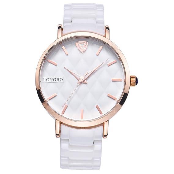 Longbo MUJER lujo cerámica banda pulsera de negocios reloj oro rosa carcasa pulsera muñeca vestido relojes moda impermeable Lady analógico cuarzo luminoso ...