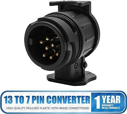 12V Car Trailer Truck 7 to 13Pin Plug Adapter Converter Tow Bar Socket Connector