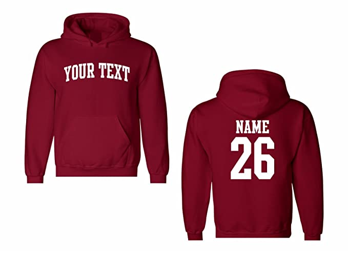 10f369ef234d8 Men's Custom Personalized Hooded Sweatshirt, Front Arched text, Back Name &  Number