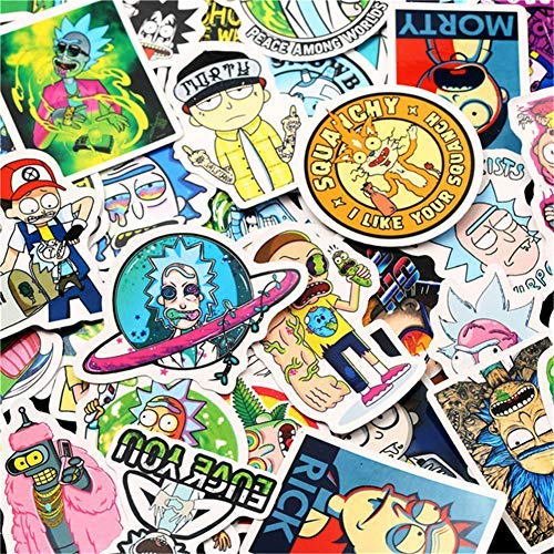 BOENTA Sticker Bomb Adesivi Atickers Graffiti Sticker 50 Rick And Moti Rick And Morty Decalcomanie Valigia Valigia Chitarra Applique per Auto Impermeabile