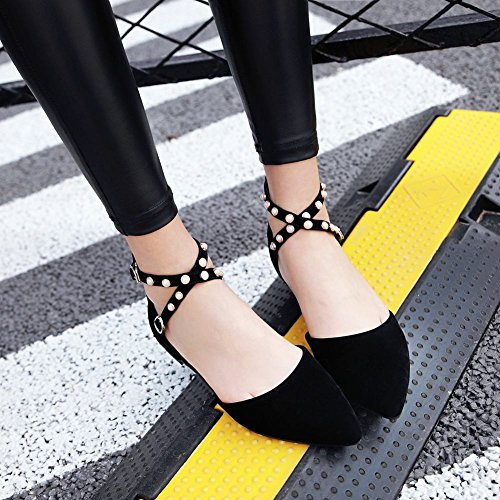 Beaded Pointed Black Toe Flats Carolbar Buckle Strap Womens Sandals Ankle zqCxw1IY