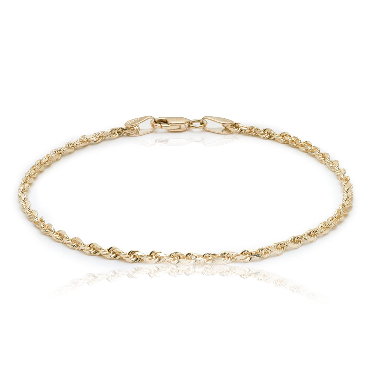 products solid thick royal diamond anklet cut rope yellow rc mm gold