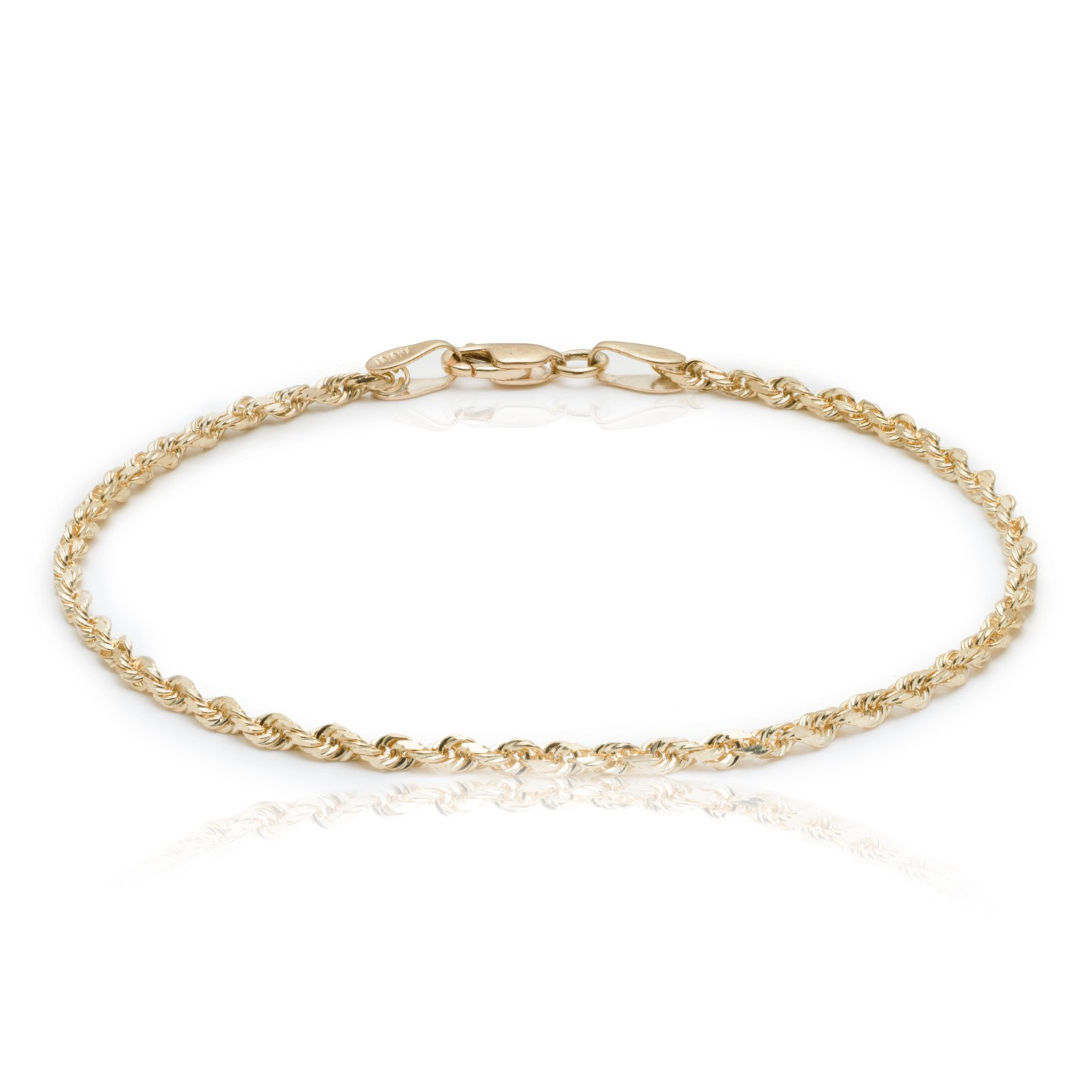 10 Inch 10k Yellow Gold Solid Diamond Cut Rope Chain Bracelet and Anklet for Men & Women, 2.25mm (0.09'')