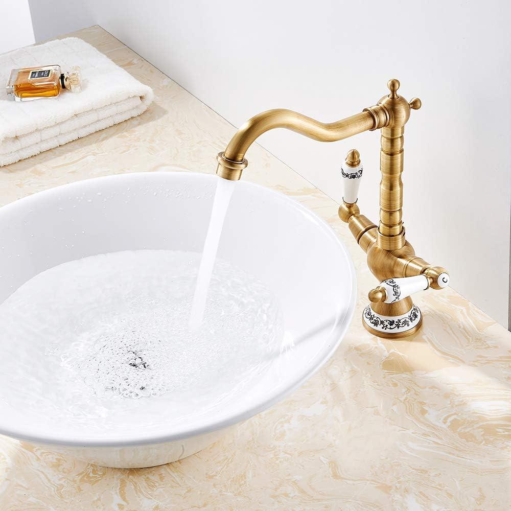 Robinet mitigeur avec double poign/ée en c/éramique pour lavabo robinet de cuisine laiton classique