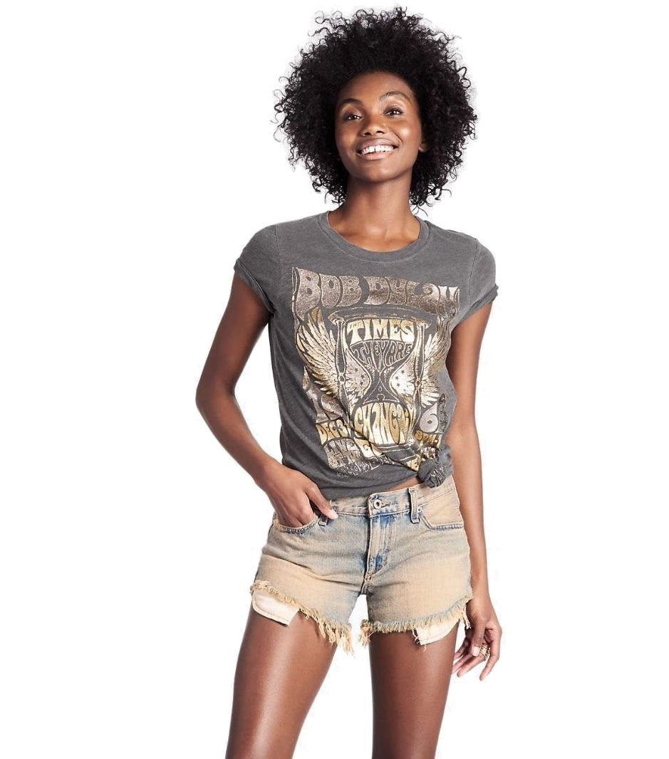 Lucky Brand - Women's - Metallic Bob Dylan Concert Cotton Tee (X-Small)