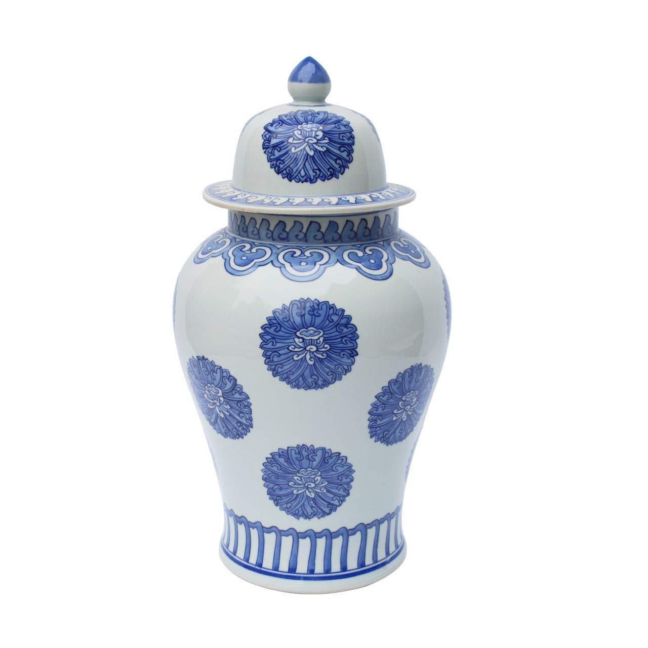 Legends of Asia Asian Decorative Blue & White Multi Flowers Temple Porcelain Decorative Jar