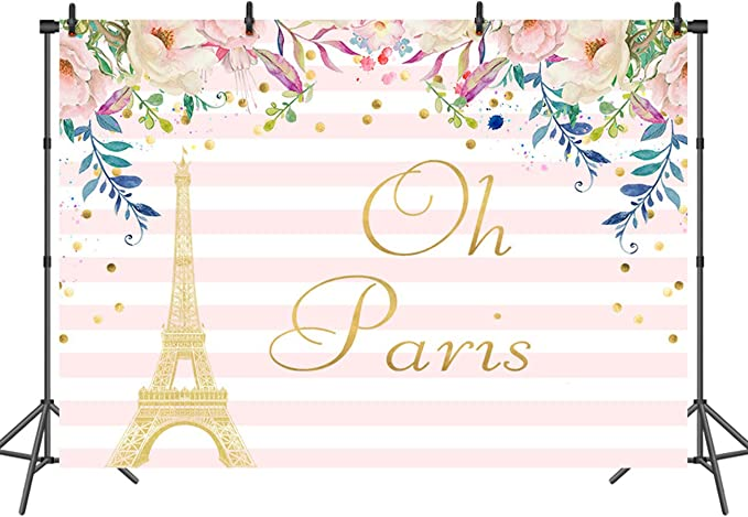 Paris 10x12 FT Photo Backdrops,Famous French Landmark Eiffel Tower Postcards with Abstract Striped Backdrop Print Background for Baby Shower Bridal Wedding Studio Photography Pictures Multicolor