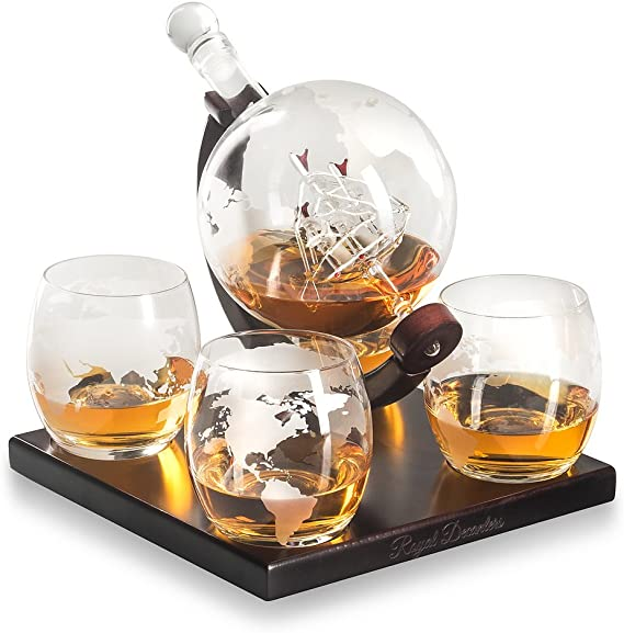 Royal Decanters Etched Globe Whiskey Decanter Gift Set- Glasses & Glass Beverage Drink Dispenser also for Brandy Tequila Bourbon Scotch Rum -Alcohol Related Gifts for Dad (850ML) (4 Glass Square)