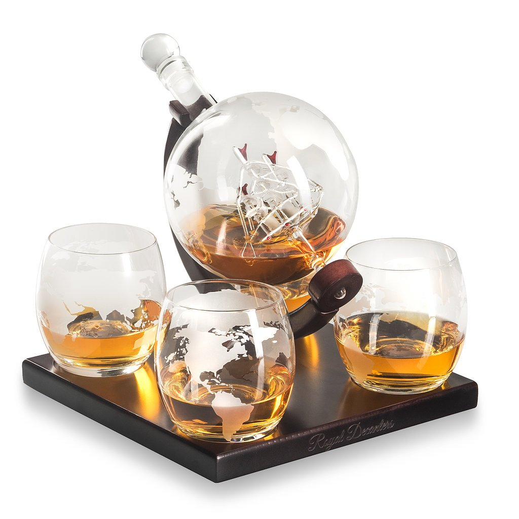 Royal Decanters Etched Globe Whiskey Decanter Gift Set- Glasses & Glass Beverage Drink Dispenser also for Brandy Tequila Bourbon Scotch Rum -Alcohol Related Gifts for Dad (850ML) (4 Glass Square) by Royal Decanters