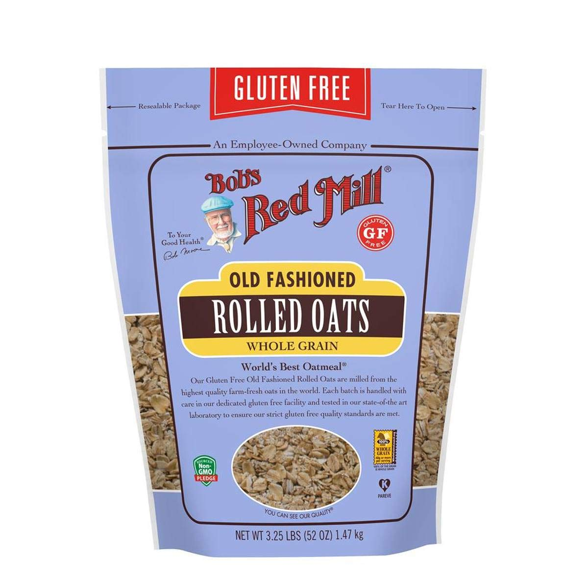 Bob's Red Mill Resealable Gluten Free Old Fashioned Rolled Oats, 52 Oz (4 Pack) by Bob's Red Mill