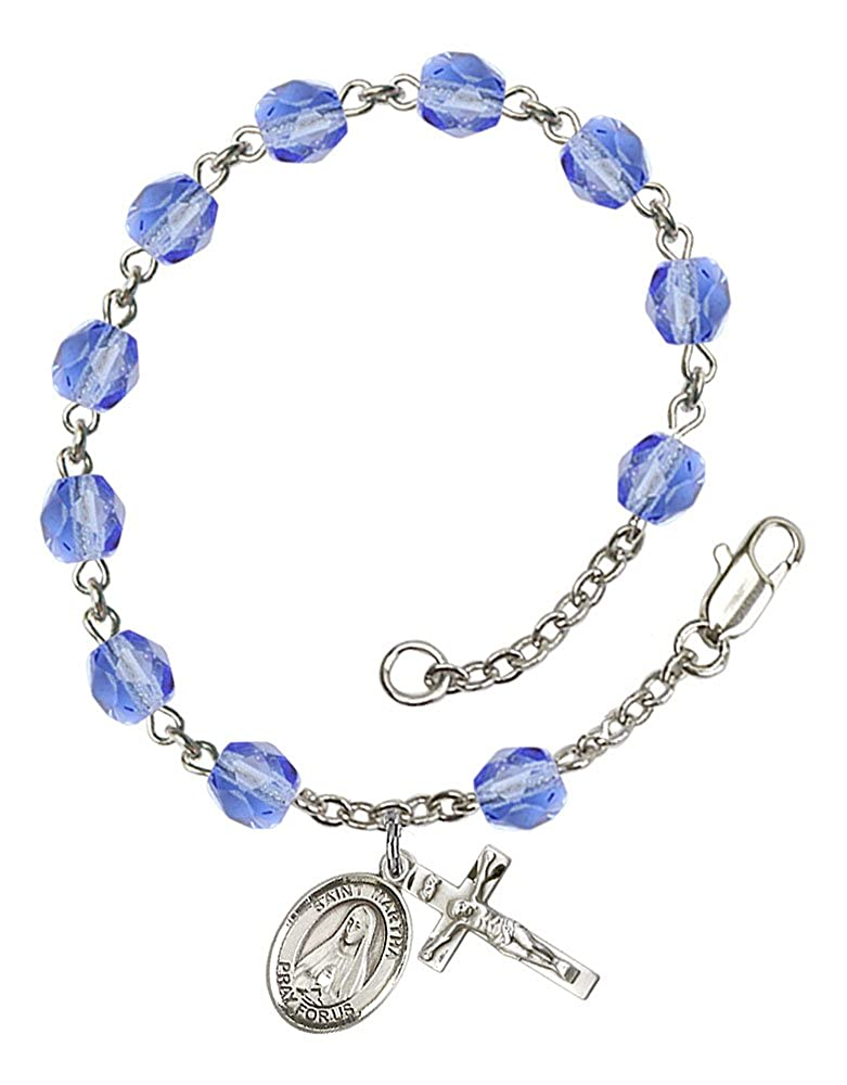 Patron Saint Maids//Innkeepers The charm features a St Martha medal Silver Plate Rosary Bracelet features 6mm Sapphire Fire Polished beads The Crucifix measures 5//8 x 1//4