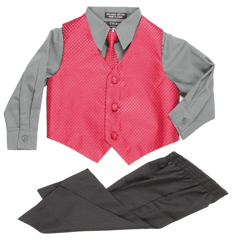 Caldore Little Boys Burgundy Gray Vest Set Size 6/9