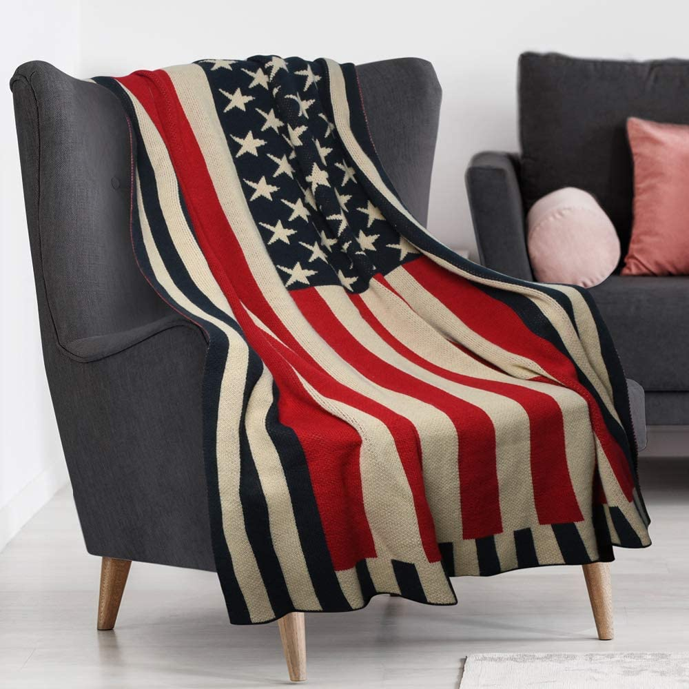 American Flag Throw Blanket Patriotic USA Couch Sofa Bed Lightweight Soft Cover