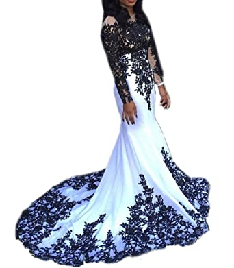 Amazon.com: DreHouse Womens White+Black Lace Mermaid Long Sleeve Prom Dresses 2017 Sexy: Clothing