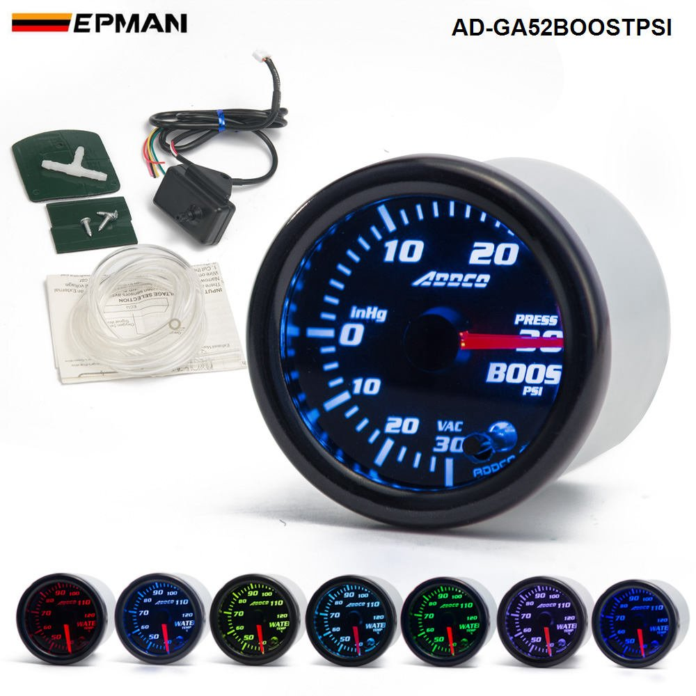 "EPMAN Car Auto 12V 52mm/2"" 7 Colors Universal PSI Turbo Boost Gauge LED With Sensor and Holder LTD"