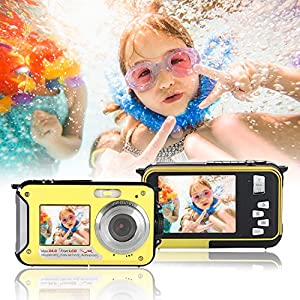 Waterproof Underwater Digital Camera,24MP 1080P Dual Screen Point and Shoot Digital Video Recorder Cameras-Yellow