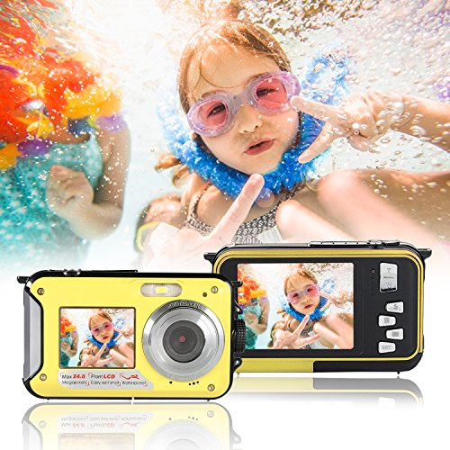 Waterproof Underwater Digital Camera,24MP 1080P Dual Screen Point and Shoot Digital Video Recorder  Cameras-Yellow (Recorder Video Underwater)