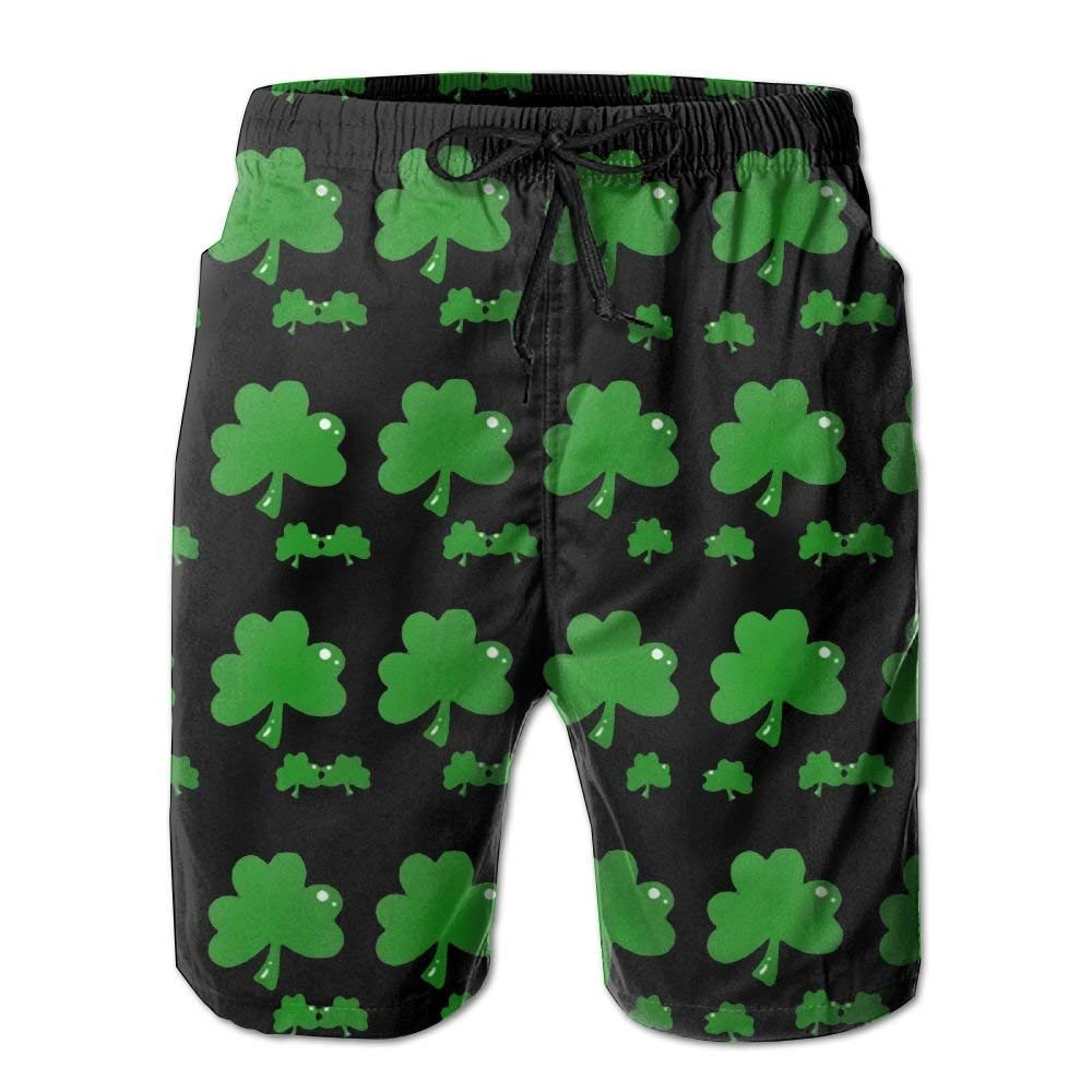 Mens Green Clover Quick Dry Summer Board Shorts Athletic Beach Board Shorts