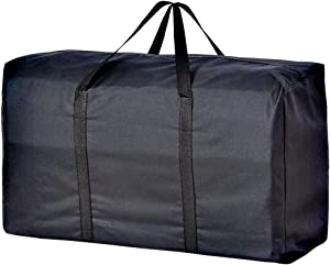 Extra Large Handy Storage Bag Waterproof Heavy Duty Oxford Travel Luggage Caddy Organizer Foldable Quilt Blanket Laundry Bag Weekender Duffel Space Saver Bag with Web Handle (Black, 160L)