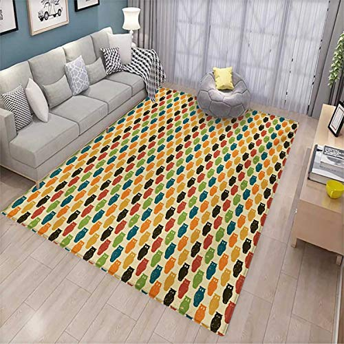 Owls Area Rugs for Bedroom Retro Styled Colorful Animal Silhouettes with Grunge Display Halloween Inspirations Door Mats for Inside 6'x9' Multicolor]()