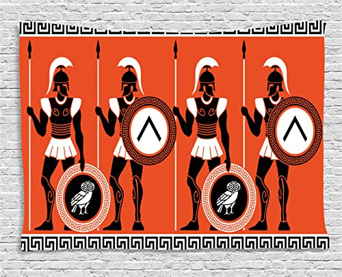 Ambesonne Toga Party Tapestry, Artistic Historical Figures in Ancient Greece Theme Mystical Cultures, Wall Hanging for Bedroom Living Room Dorm, 60 W X 40 L Inches, Orange -