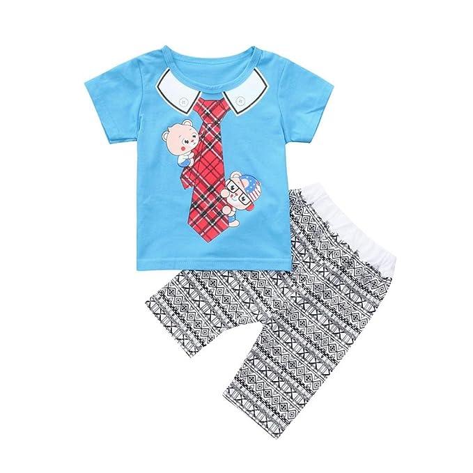 🌸 Conjuntos Bebe 0-4 Años, 🐳 Zolimx Niños Bebés y Niñas de Dibujos Animados Corbata Impresa Tops Camiseta + Pantalones Cortos Trajes Recién Nacidos ...