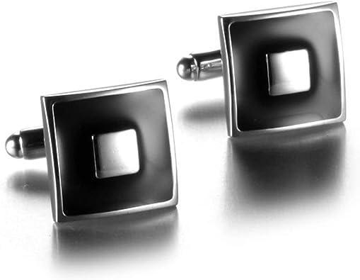 Aeici Gemelos Personalizados Gemelos Camisa Hombre Cuadrado Gemelo Hombre Plata Negro: Amazon.es: Joyería