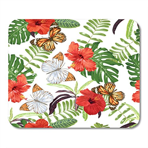 Decoupage Pad (Nakamela Mouse Pads Tropical Bright Summer Beautiful Pattern with Hibiscus Flowers Butterflies and Exotic Leaves Decoupage Mouse mats 9.5
