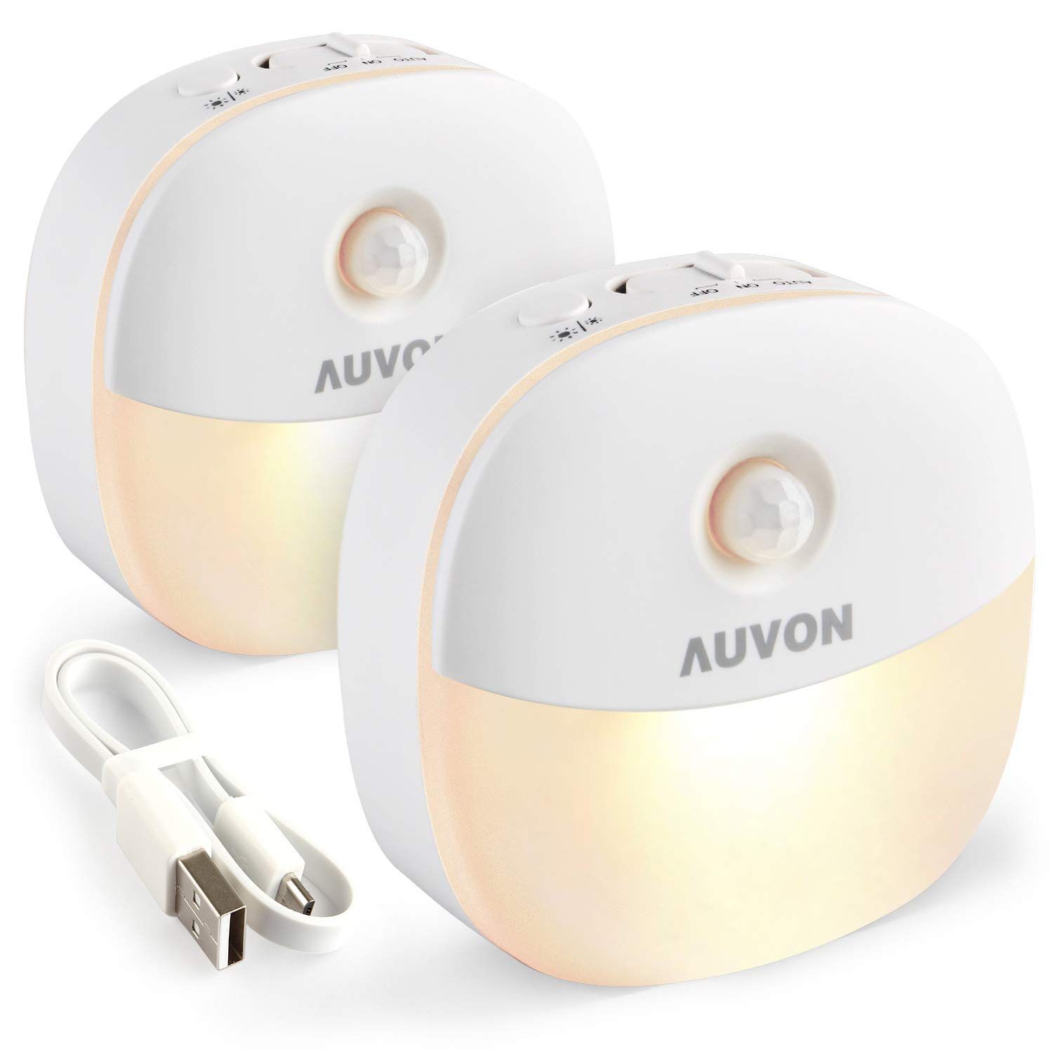 AUVON Rechargeable Motion Sensor Night Light, LED Stick-On Nightlight with Dusk to Dawn Sensor, Motion Sensor (Passive Infrared Technology), Adjustable Brightness for Kids, Moms, The Elderly, 2-Pack